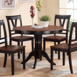 cherry wood round dining 5pc set