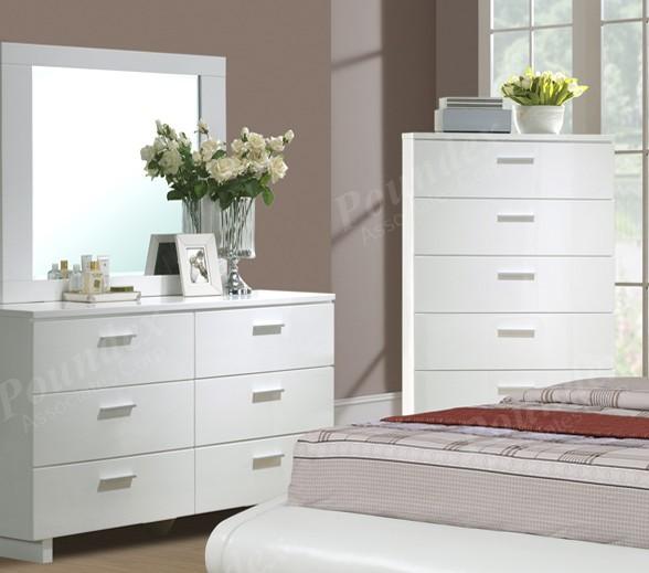 White Nightstand dresser mirror Chest