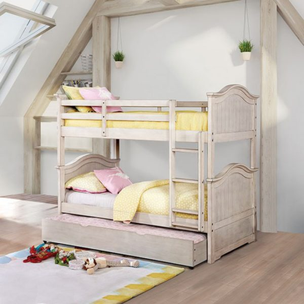 Hermine White Twin/Twin Bunk Bed - Paradise Furniture Store