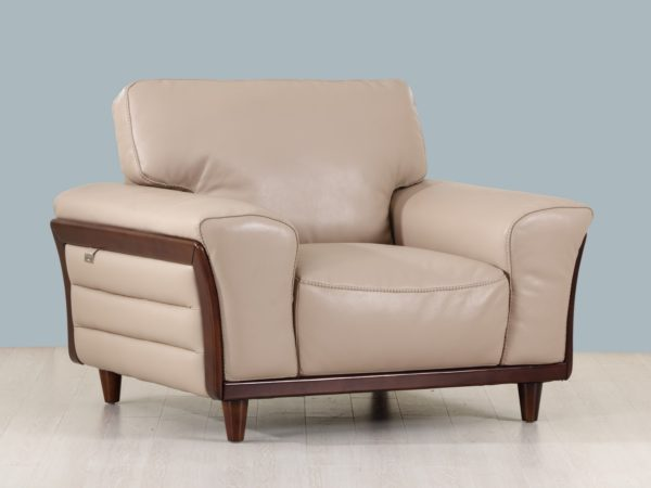 Beige leather and wood frame Chair