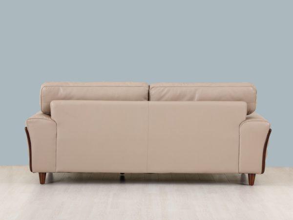 Beige leather and wood frame sofa