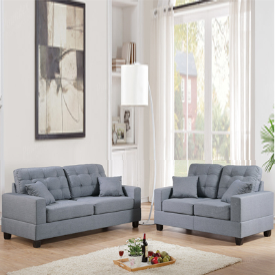 Grey Two Piece Sofa Set