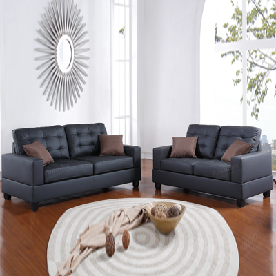 Black two piece sofa set