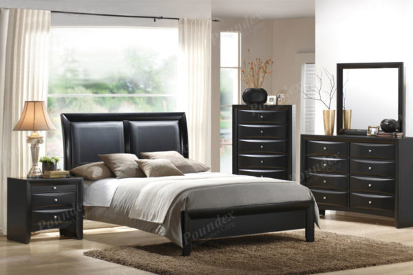 Black Faux Leather bed frame