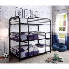 triple bed black metal bunkbed