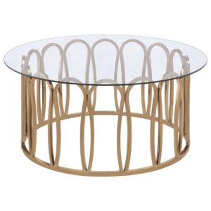 Modern Round Coffee Table with Metal Base