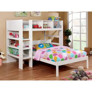 White bunkbed bookshelf