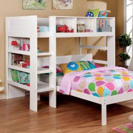 White bunkbed bookshelf