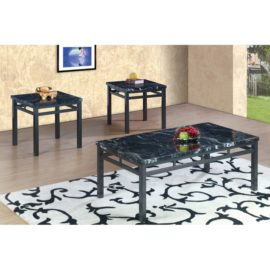 Marble grey coffee table end table set