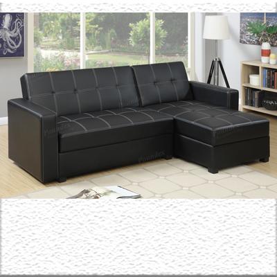 Black Track Arm Sofa Chaise Sleeper