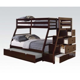 Twin on Full Espresso Bunkbed stairs chest