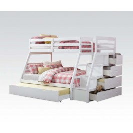 Twin on Full White Bunkbed stairs chest