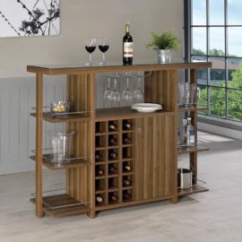 Modern Walnut Bar Wine Bottle Rack