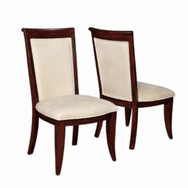walnut cream upholstered dining chair
