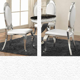 Chrome upholstered dining chair