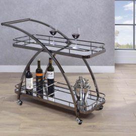 2-Tier Serving Cart With Bottle Wine Rack