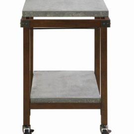 2-Tier Concrete Serving Cart Chestnut