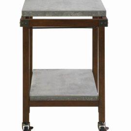 2-Tier Concrete Serving Cart Chestnut
