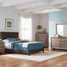 Brown upholstered bed frame