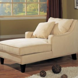 Tan upholstered chaise