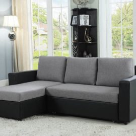 Grey Black Sofa Chaise Sectional Sleeper