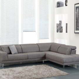 Grey sectional with adjustable headrest