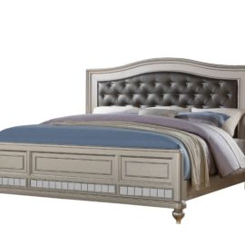 Silver Metallic Grey and mirror Bed