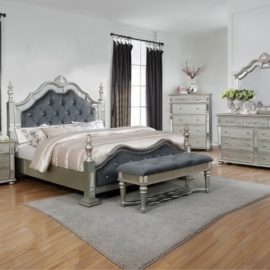 TRADITIONAL SILVER UPHOLSTERED BED