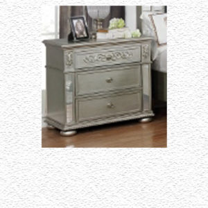 TRADITIONAL SILVER UPHOLSTERED BED NIGHTSTAND