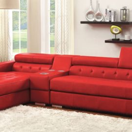 Floria Red Leather sectional