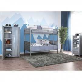 Silver Grey Metal Twin Bunk Bed