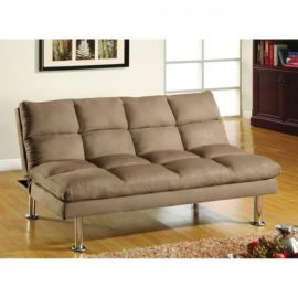 Plush Tan Sleeper Sofa