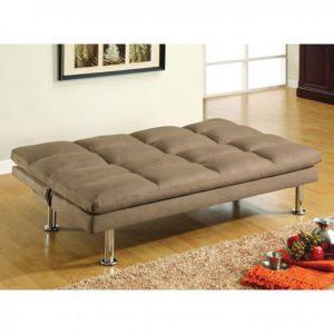 Plush Tan Sleeper Sofa