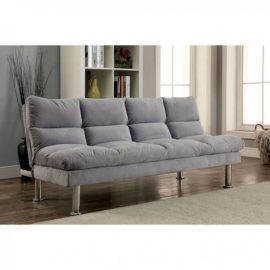 Plush Grey Sleeper Sofa