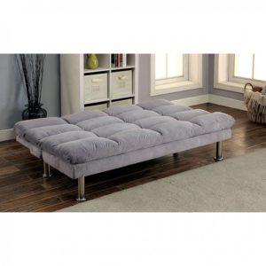 Plush Grey Sleeper Sofa