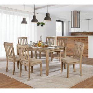 Natural wood 7 pc dinning set