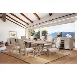 Natural wood upholstered dining chairs