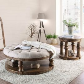 Rustic 48 inch round coffee table end table
