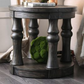 Rustic Grey round coffee table end table