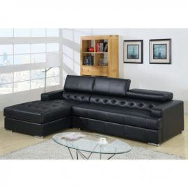 Floria Black Leather sectional