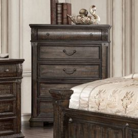Genevieve Traditional Distressed Walnut Bed Frame