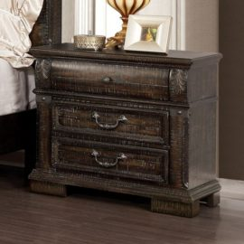 Genevieve Traditional Distressed Walnut Nightstand