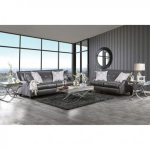 MASSIMO GREY SILVER LOVESEAT Glam up your living room with this dazzling collection. Strikingly upholstered in shiny fabric, this set showcases angled backrests with sloped armrests.