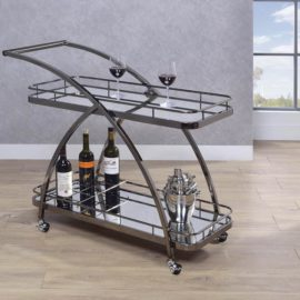 2-Tier Serving Cart With Bottle Wine Rack