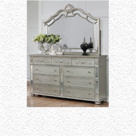 TRADITIONAL SILVER UPHOLSTERED BED DRESSER