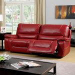 Red Bonded Leather Recliner Sofa