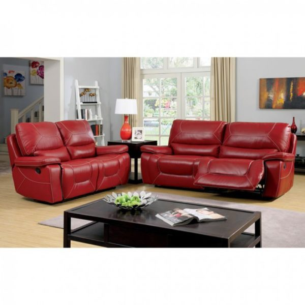 Red Bonded Leather Recliner Sofa Set