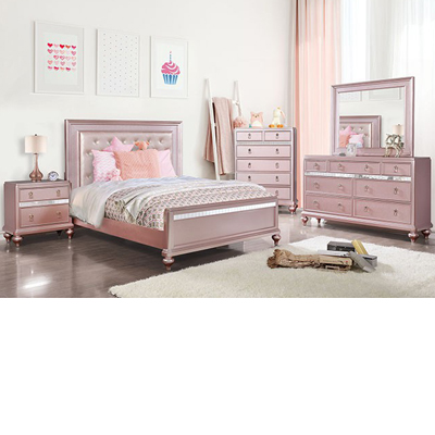 Avior Rose Pink Tufted Bed