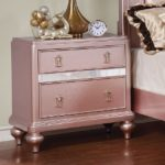 Avior Rose Pink Tufted Bed Nightstand
