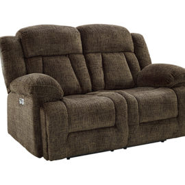 Laura Power Chocolate Recliner Loveseat